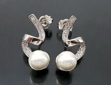 925 Silber Orquidea Ohrstecker, Mallorca-Perlen Weiß, Hochzeit (61067)