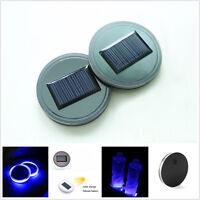 2 x Car SUV Pickup Solar Cup Holder Bottom Pad Mat Blue LED Light Cover Acrylic