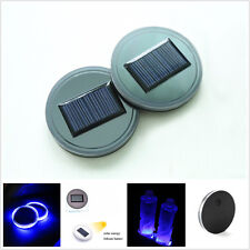 2 x Car SUV Pickup Solar Cup Holder Bottom Pad Mat Blue LED Light Cover Acrylic