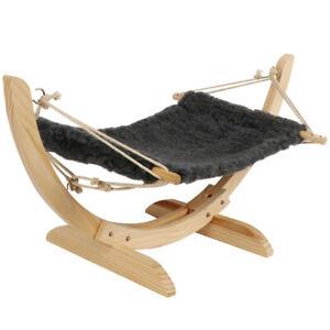 Cat Hammock Bed Lounge Soft Sway Washable Plush Bedding Elevated Wood Swing
