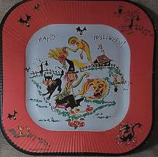 Vintage REED's HALLOWEEN PAPER PLATE-Great Witch~Cat~Ghost~Bat~Owl Graphics NOS