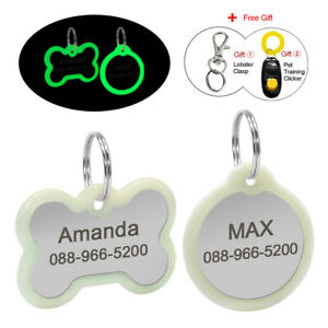 Personalised Pet Puppy Dog Tag with Silencer Glow In The Dark FREE Custom Text