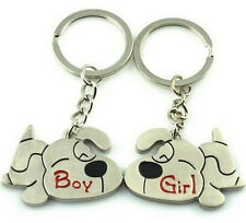 FD1081 Sweet Puppy Dog Lover Keychain Keyring Keyfob Key Ring ~1 Pair 2pcs~ :)