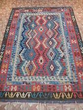 Hand Woven Rug 6x8 Kurt A?zi Wolf's & Star Design Carpet Stylish Kilim For Sale