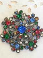 1950s Czech Large Flower Colourful Rhinestone Statement Brooch
