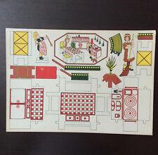 Jeu Planche de Découpage en Carton - La Cuisine - 50's - Kitchen Paper Toy
