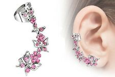 Boucle d'oreille GAUCHE piercing Biker papillon rose Lady Rider moto earrings