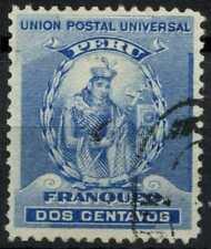 Peru 1896-1900 SG#337, 2c Blue, Atahualpa Used #E1255