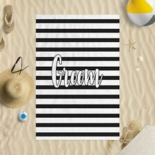 "58 x 39"" Beach Towel Groom Black & White Striped Design Microfibre Wedding"