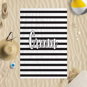"58 x 39"" Beach Towel Groom Black & White Striped Design Microfibre Wedding"