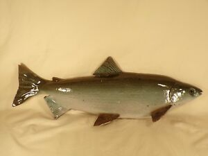 Michigan Artist Studio Pottery Whitefish Fish Wall Plaque Cabin Cottage Decor Lg