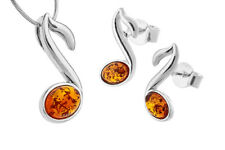 925 Sterling Silver Honey Baltic Amber Notes Pendant Studs Set Jewellery Jewelry