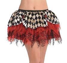 Womens Freak Show Clown Harlequin Jester Tutu Skirt Halloween Fancy Dress