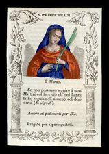 santino incisione 1800 S.PERPETUA M. DI CARTAGINE dip. a mano