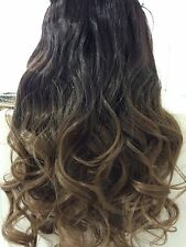 "Clip in Hair Extnesions 20"" DIP Dye Ombre Dark Brown/ Brown Thick Like Human"