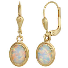 Damen Boutons oval 333 Gold Gelbgold 2 Opale Ohrringe Ohrhänger Goldohrringe.