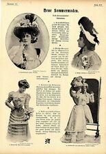 Neue Sommermoden Sommerhüte und Reisemäntel Historische Memorabile von 1899