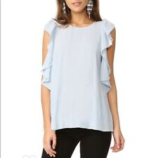 Rebecca Minkoff Womens Top Monsoon Cold Shoulder Ruffle Blouse Blue L $128