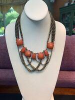"""Vintage Bohemian Antique Brass Tone Chain Pendant Brick Orange Necklace 20"""""""