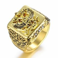 Mens Jewelry Russian National Emblem Double Eagle Signet Ring Crystal Gold SZ 7