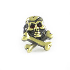 New Burnished Brass Tone Skull And Cross Bones Lapel Pin Pirate Logo Suit Pin