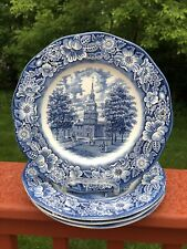 Liberty Blue by Staffordshire Ironstone Dinner Plates Independence Hall,Set Of 4