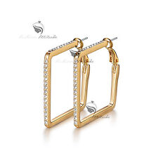 18k yellow gold gp made with SWAROVSKI crystal hoop stud earrings hoops clear