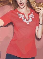 Red Embellished Short Sleeve Top Blouse with White Stitching on Neckline Medium