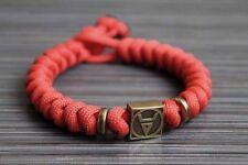 Slavic pagan paracord bracelet Veles handmade bronze crimson, pagan amulet