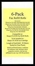 6-pack UX-3CR Fax Refill Rolls for Sharp UX-330L UX-335L UX-340 UX-340L UX-340LM