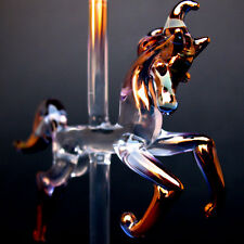 Carousel Horse of Blown Glass Pink Purple Gold Crystal