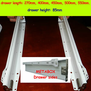 Set of Metabox Drawers sides/Runners rollers 270-550mm-length, 85mm-height White
