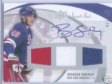 BRANDON DUBINSKY AUTO RC 3 COLOR JERSEY # 17/100 2007-08 UPPER DECK SWEET SHOT