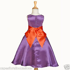 FLOWER GIRL DRESS A-LINE WEDDING PURPLE BLACK BROWN GOLD ORANGE SILVER RED WHITE