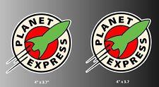 "Futurama Planet Express Logo Vinyl Decal Bumper Sticker Pair of 4"""
