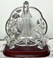 Silver City Flanders Poppy Sterling Silver Overlay Crystal 3 Handle Divided Bowl