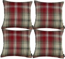 McAlister Textiles Designer Angus Tartan Check Red + White Cushion Set of 2 & 4
