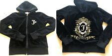 Juicy Couture Women Hoodie Track Jacket Medium Black Glitter Crest- Broken Zip