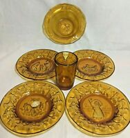 Vintage Tiara Amber Glass Mother Goose Nursery Rhyme Cup Bowl Plates 6 Pieces