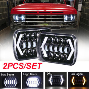 "PAIR 7x6"" LED Projector Headlight Hi-Lo Beam Halo DRL For Jeep Cherokee Truck"