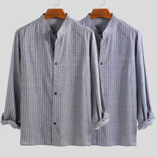 Men's Nepalese Striped Casual Shirts Collarless Button Down Grandad Shirt Top US