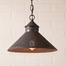 Irvins Pendant Hanging Rustic Primitive Country Shade Light Blackened Tin Stars