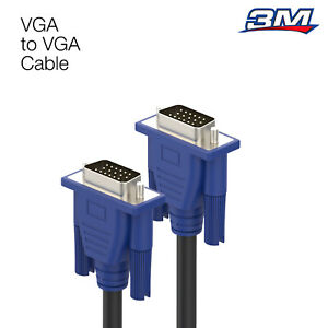 VGA 3M Cable High Resolution SVGA 15 Pin PC to TFT Monitor LCD TV Lead Meters UK