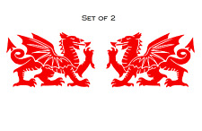 2x SMALL Welsh Dragon CYMRU Vinyl Car Window, Bumper Decal / Sticker / Graphic