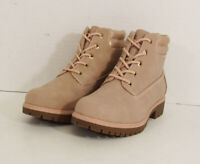 $70 Limelight Womens Brett Faux Leather Lace Up Boot Shoes, Pale Pink, US 6.5