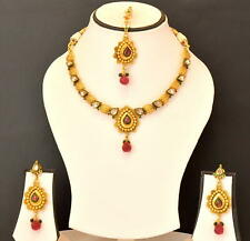 Fashion Party Wear Kundan Jewelry Set Indian Ethnic Necklace Earring Gold Plated