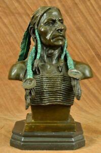 Original Real Bronze Native American Indian Cheif Bear Headdress Bust Sculpture
