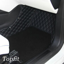 Topfit Customized Black Car Floor Mats with Grass Pad for Tesla Model X 6 Seats