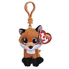 "TY Beanie Boos 4"" SLICK the Fox Plastic Key Clip Plush MWMT's New w/ Heart Tags"