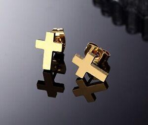 Titanium Titan Kreuz Ohrstecker Ohrringe Schmuck Damen Herren Gelbgold vergoldet